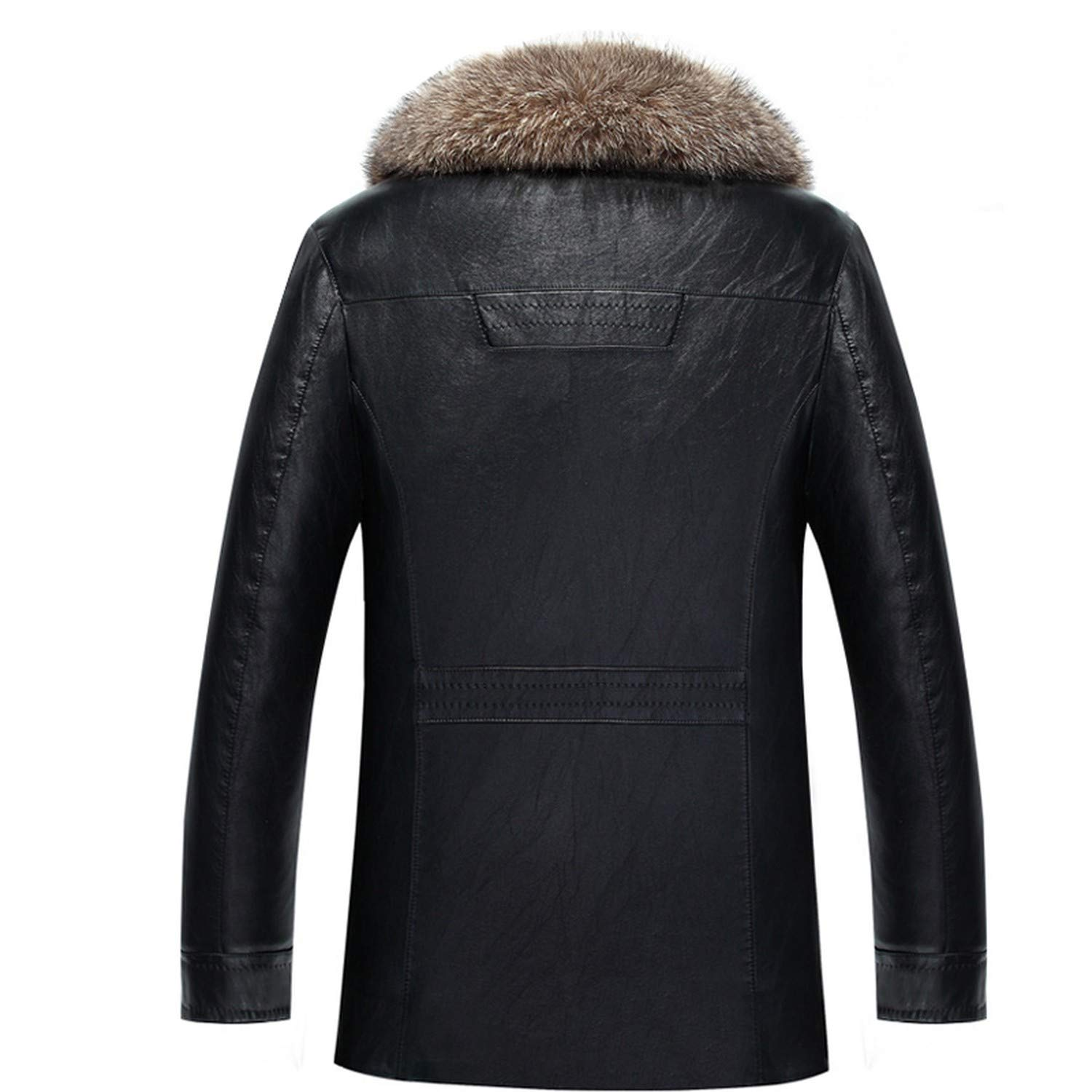 Real Raccoon Fur Collar Men Faux Leather Jackets Winter Thicken Coat Jaqueta Men PU Leather