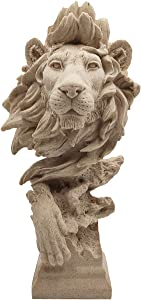 LOOYAR Resin Lion Head Statue Sculpture Ornament Collectible Figurine Craft Furnishing for Home Décor Farm House Living Room Porch Decoration Office Desk Desktop Table Wine Cabinet Arrangement Gift