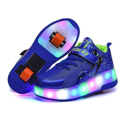 Unisex Niños LED Luz Flash Zapatos de Roller con USB Recargable Automática Ruedas Patines Al Aire Libre Gimnasia Zapatillas de Skateboard para Niñas: ...