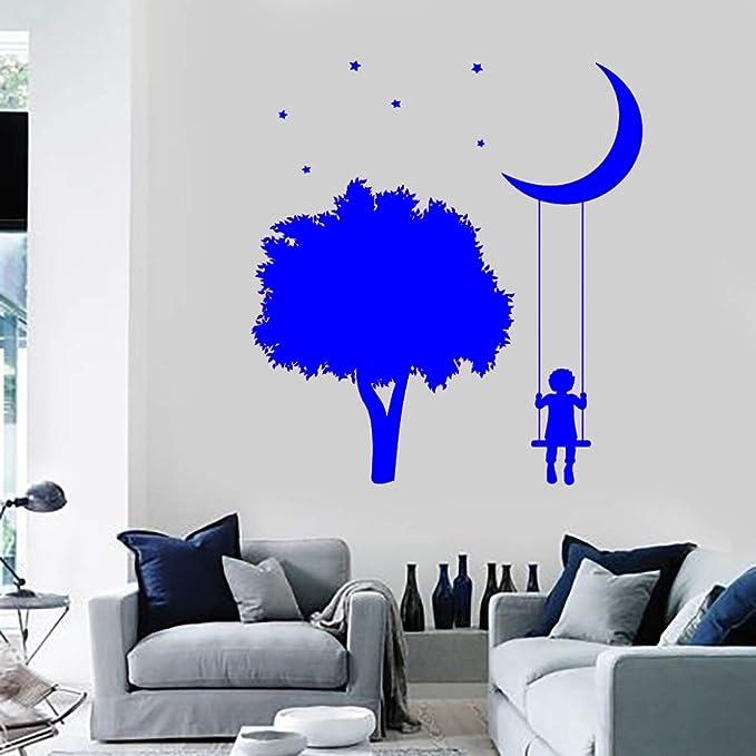 zhuziji Romántico árbol Luna niños Pegatinas de Pared Vinilo ...