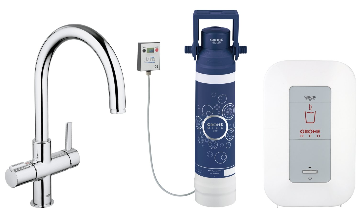 GROHE 30058000 | Red Duo Kitchen Tap and single-boiler (3 liters ...
