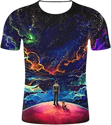 Galaxy Nebula Full Printed Short Sleeve Crew Neck Tees Summer Tops for Boys Youth T-Shirts