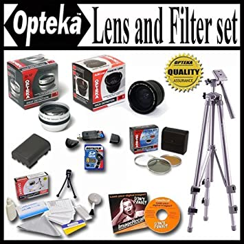 Pro Case and Much more Opteka Ultimate Accessory package For The Panasonic Lumix DMC-FZ35 DMC-FZ28 DMC-FZ18 Package Includes 0.35 Wide Angle Lens 8GB Memory Card Tripod Spare Batery Piece Filter Kit 2X Telephoto Lens