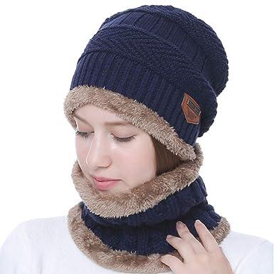 8de788a99e83 Lehour Ensemble bonnet et écharpe d hiver pour Femme,Beanie Cap tricot laine  épais