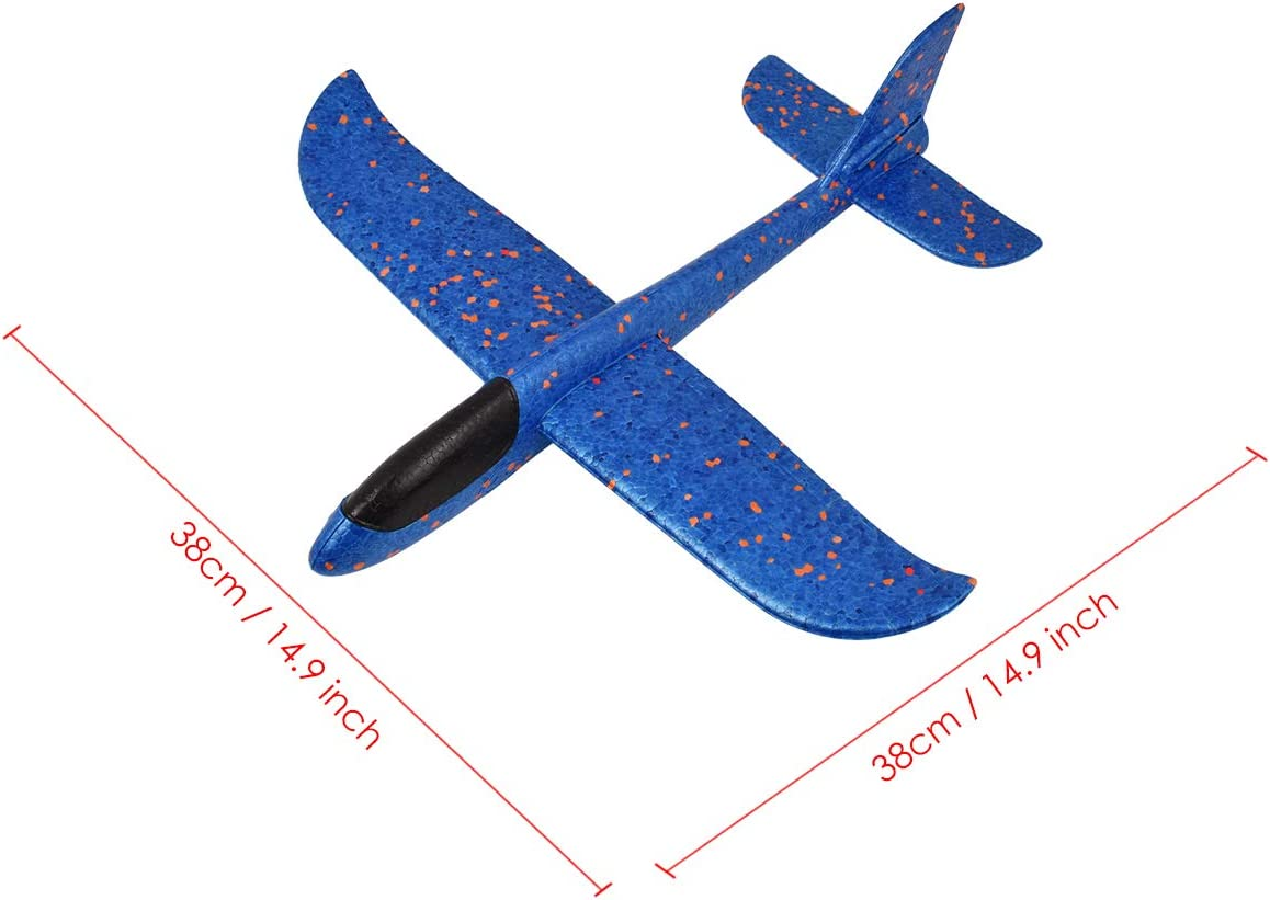 SCSpecial Avi/ón de Espuma 14.9 Pulgadas Manual Avi/ón de Espuma con Funciones Circulares 2 Piezas Planeador de Lanzamiento Manual