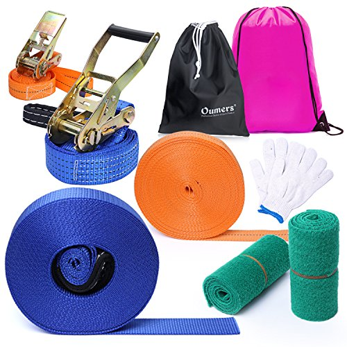 Slackline Kit, Oumers Complete Slackline Set with 50ft x 2in Balance Training Line Tree Protectors Ratchet Gloves and Carry Bags