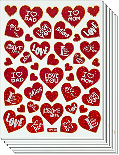 Jazzstick SALE 60% OFF 250 Valentine's day Red Heart with Message Value Pack Decal Stickers 10 sheets A35 ()