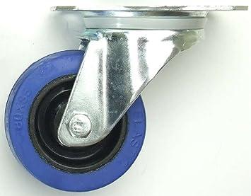 Rad INDUSTRIEQALIT/ÄT 2 St/ück 125 mm Blue Wheels Lenkrollen mit Feststellbremse//Bremse FS Transportrollen Blau 200kg 2 x Brems