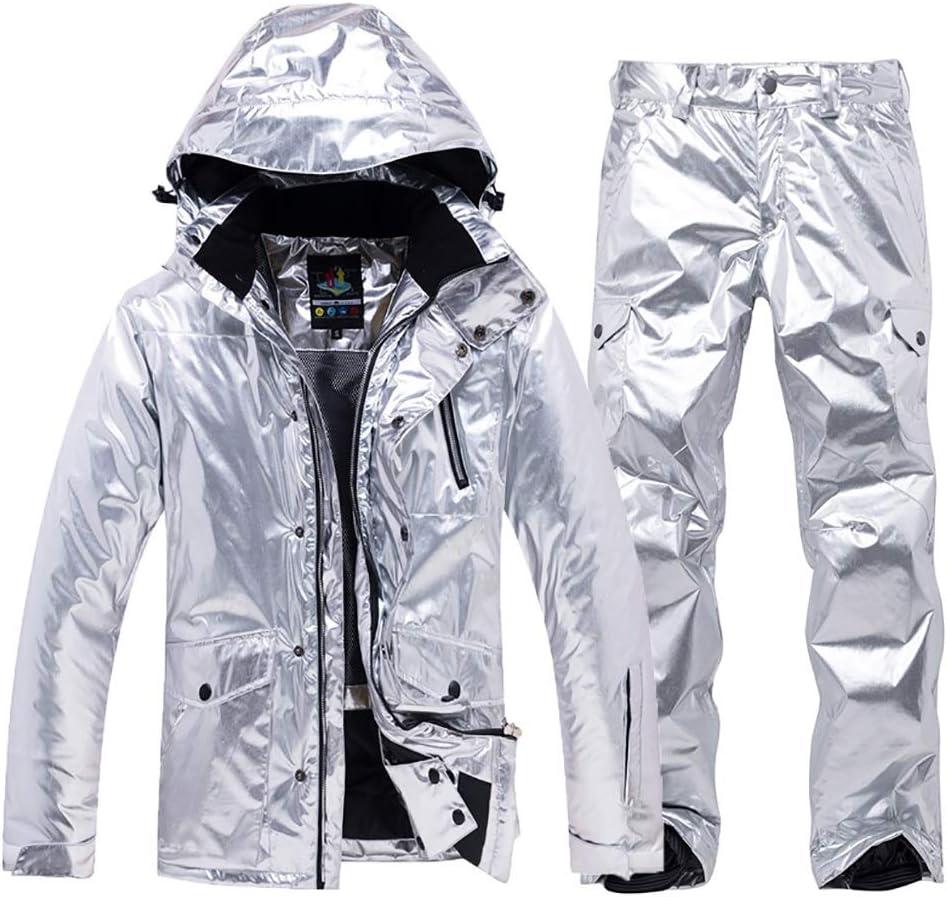 女性のスキージャケット防水 女子スキースーツスノーボード防水防風雪のジャケットとパンツ耐久性のある暖かいコートレトロな冬服 レディース冬の雪のジャケットレインコート (色 : 銀, サイズ : S) 銀 Small