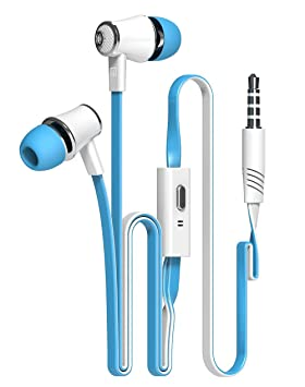 Auriculares deportivos intrauditivos Auriculares estéreo con aislamiento de ruido con cable Flat Flex Anti Tangle Auriculares inalámbricos de control en ...