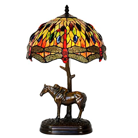 Bieye l10015 12 inches dragonfly tiffany style stained glass table lamp with 100 brass