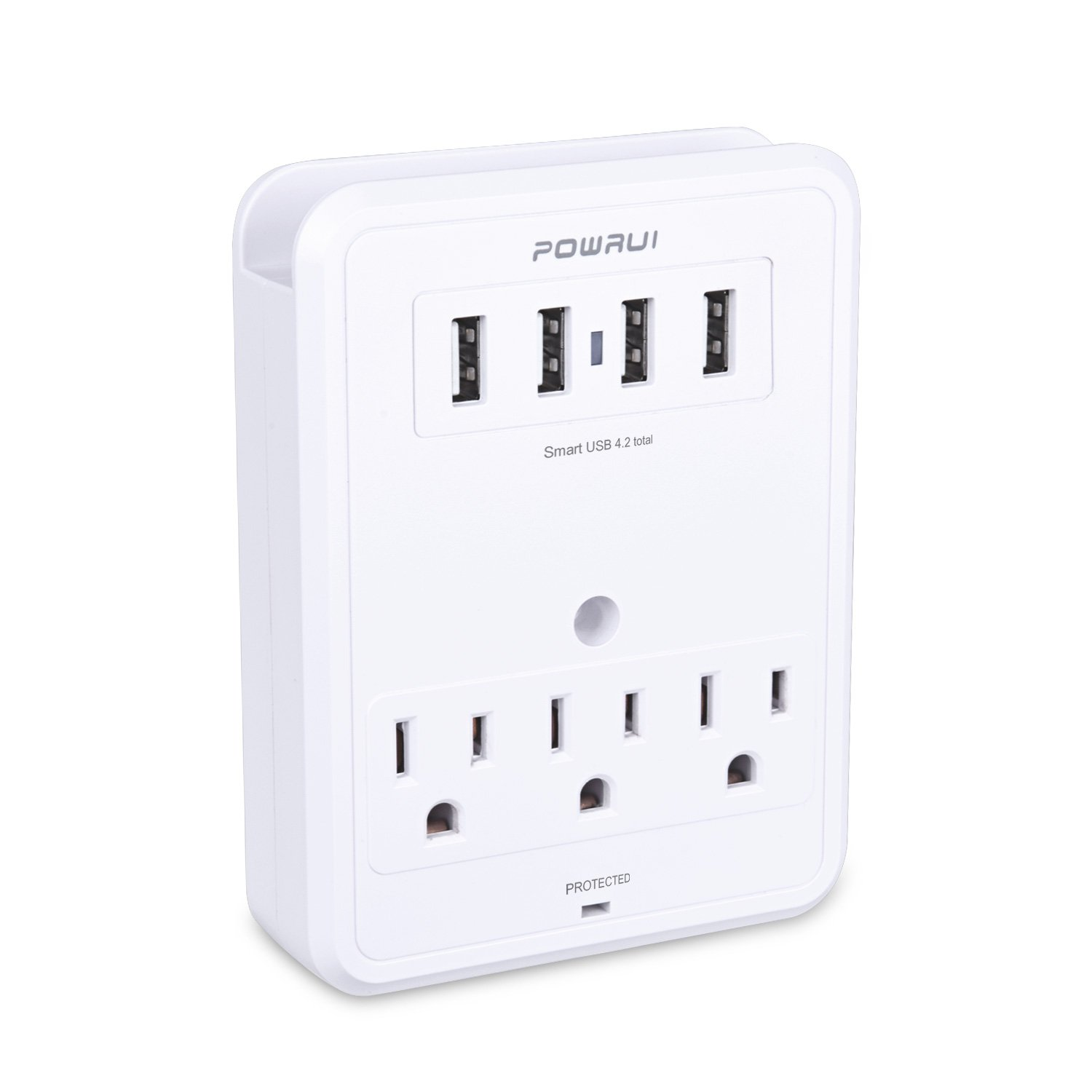 POWRUI Multi Wall Outlet Adapter Surge Protector 1680 Joules with 4-USB ports Wall Charger, Wall Mount Charging Center 3 Outlet Wall Mount Adapter for Home, School, Office, ETL Certified