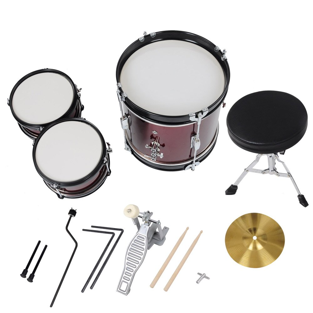 3pcs Junior Kids Child Drum Set Kit Sticks Throne Cymbal Bass Snare Boy Girl Red by AW (Image #8)