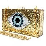 Gold Acrylic Clutch Bags Glitter Purse Perspex Bag Handbags for Women (GOLD)