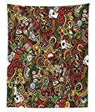 Ambesonne Casino Tapestry Twin Size, Doodles Style Artwork of Bingo and Cards Excitement Checkers King Tambourine Vegas, Wall Hanging Bedspread Bed Cover Wall Decor, 68 W X 88 L inches, Multicolor