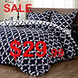 downluxe Lightweight Printed Comforter Set (Twin,Navy) with 1 Pillow Sham - 2-Piece Set - Hypoallergenic Down Alternative Reversible Comforter by