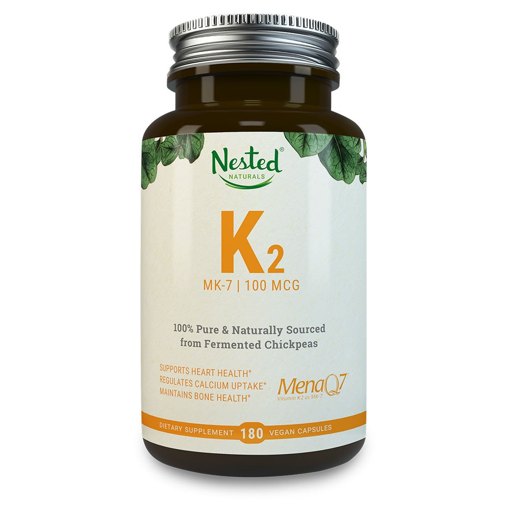 VITAMIN K2 (MK7) 100 mcg   180 Vegan Capsules of Premium, HIGHLY Bioavailable MenaQ7 From Chickpeas – 100% NON GMO & SOY FREE K 2 Supplement   Bone & Cardiovascular Health Support   MK 7 Supplements