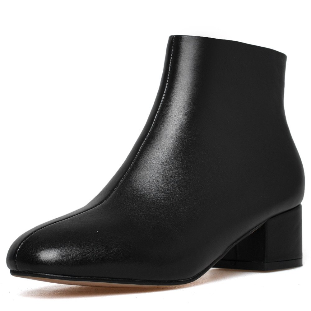 Nine Seven Genuine Leather Women's Round Toe Chunky Heel Business Handmade Basic Ankle Booties (7, Black)