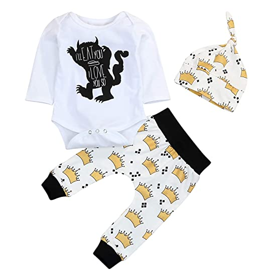 """ece7b3adc5d0 Baby Boy Girl Clothes """"Monster Pattern"""" Romper Tops """"Crown Pattern"""" Pants  with"""