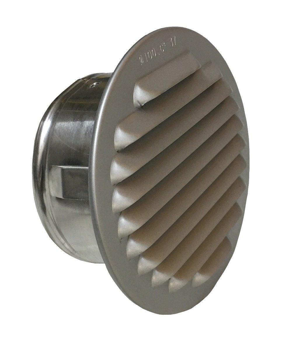 Trobak L/üftungsgitter Aluminium eloxiert mit Stutzen DN 75-80 mm