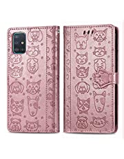 Miagon PU Leather Wallet Case for Samsung Galaxy A51,Cat and Dog Animal Design Embossing Flip Stand Function Cover with Card Slots Magnetic Buckle and Lanyard,Rose Gold