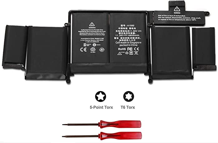 """POWERWOO New Laptop Battery A1582 for 2015 MacBook Pro 13"""" ME864 ME865; A1493(2013 2014 Version) Battery for A1502 with 2 Screwdrivers [6600mAh/ 11.36V /74.9Wh]"""