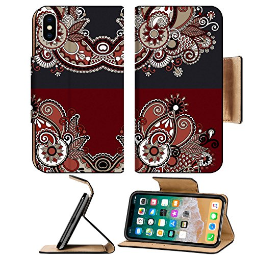 Liili Premium Apple iPhone X Flip Pu Leather Wallet Case ID: 21680691 Neckline ornate floral paisley embroidery fashion design ukrainian ethnic style Good design for print (Neckline Leather)