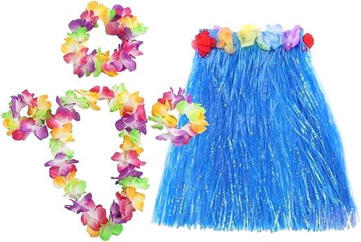 Short Hawaiian Grass Hula Skirt Luau Lei Fancy Dress Beach Party 40cm