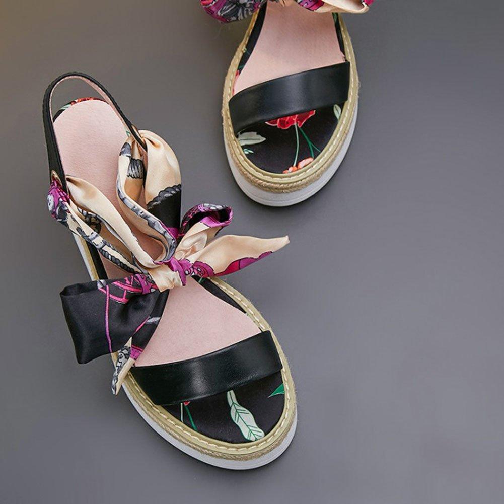 Damenschuhe 2018 Sommer Spitze Hochhackige Sandalen EIN Ribbon Wort Band Ribbon EIN Bow dicken Boden Wedge Stroh Sandalen Damen Schuhe (Farbe : schwarz, Größe : 35) schwarz 7d2143