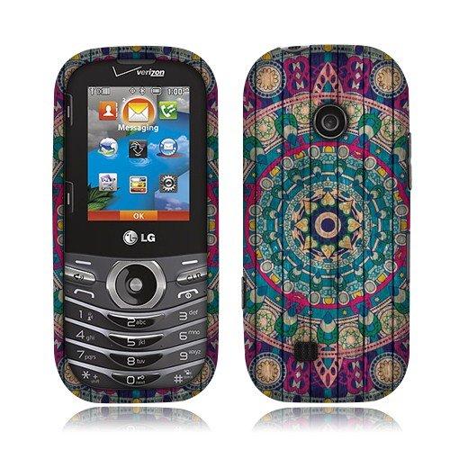 Nextkin LG Cosmos 3 VN251S Hard Plastic Snap On Protective Cover Case - Bohemian Blue Mandala Wooden
