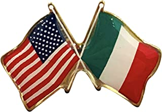 product image for Gettysburg Flag Works Italy & U.S. Crossed Flags Double Waving Friendship Lapel Pin - Made in The USA