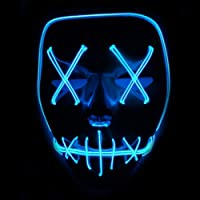 Xdffy Halloween Mask LED Light Up Funny Masks Great Festival Cosplay Costume Supplies Party Masks Glow In Dark (Blue)
