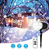 EleLight Christmas Snowflake LED Projector Light, 9W 120LM IP65 Waterproof Cool White Light with Wireless Remote Snowfall Project Light, Bright and White Moving Snowflake Decorating Light for Christmas, Wedding, Holiday Party Decorations
