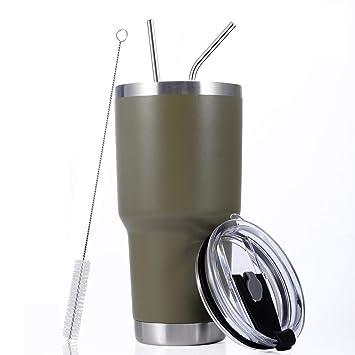 Amazon.com: Vaso aislante de acero inoxidable con tapa ...