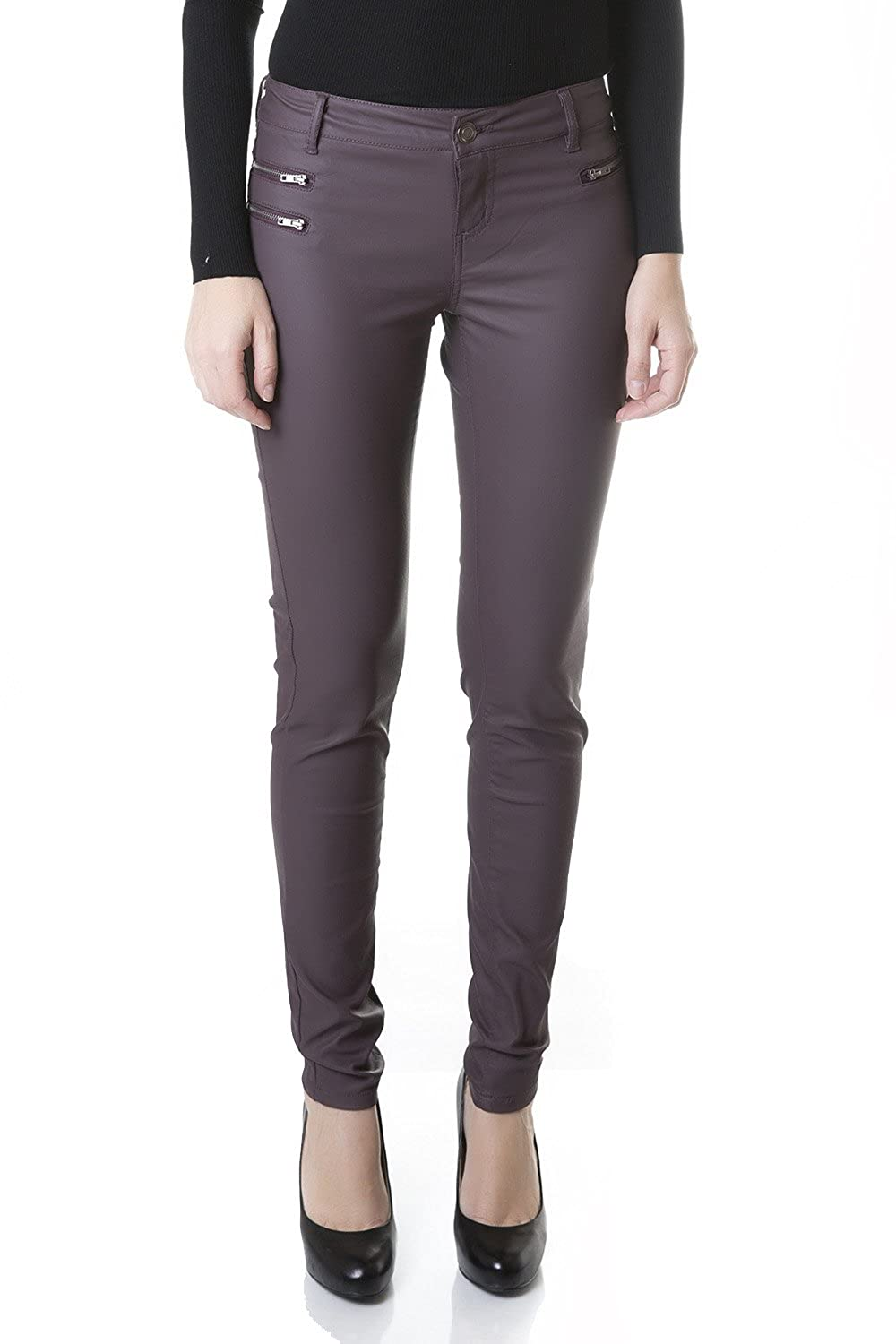 49f2615dd5f327 Ponte Leggings- Decorative Front Pockets -Stretchy - Faux Leather Skinny  Pants Figure-flattering and comfy for an easy and all-day fit.