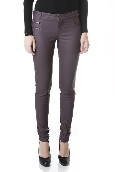 Suko Women s Ponte Leggings -Stretchy Faux Leather Skinny Pants 18159 Berry  12 f488daf606