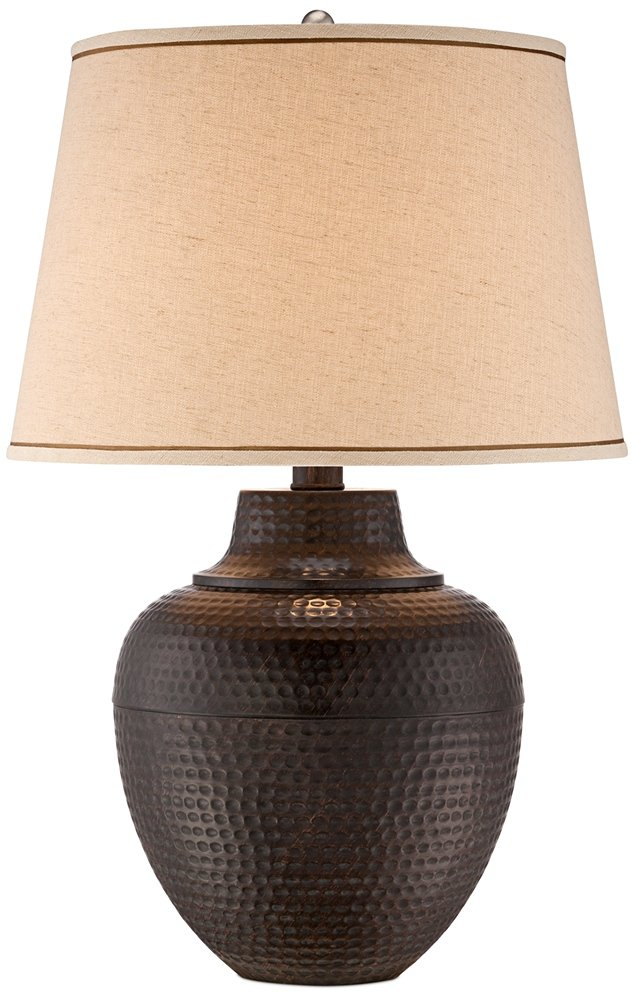 Brighton Hammered Pot Bronze Table Lamp by Barnes and Ivy