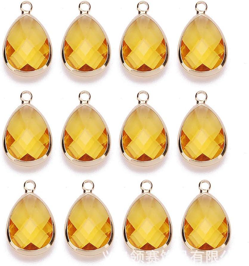 ANRUX - 12 colgantes de piedra de cuarzo con forma de lágrima de agua, forma de gota de agua, piedras preciosas para hacer collares y joyas, amarillo