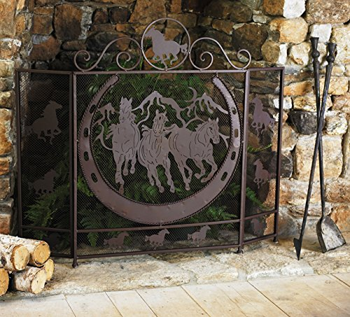 (Black Forest Decor Running Horses Fireplace Screen)