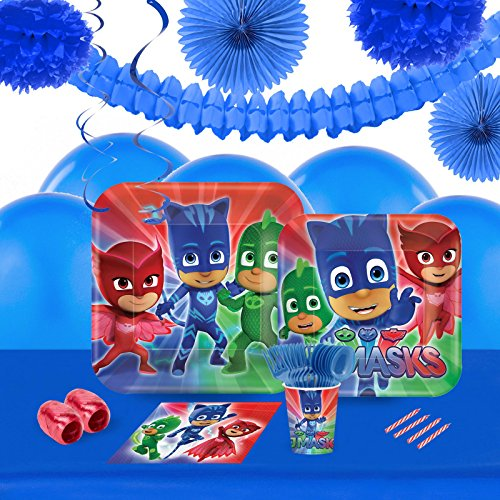 PJ Masks Party Supplies - Tableware and Decoration Party Pack for 16 (Disney Jr Pj Masks Costume)