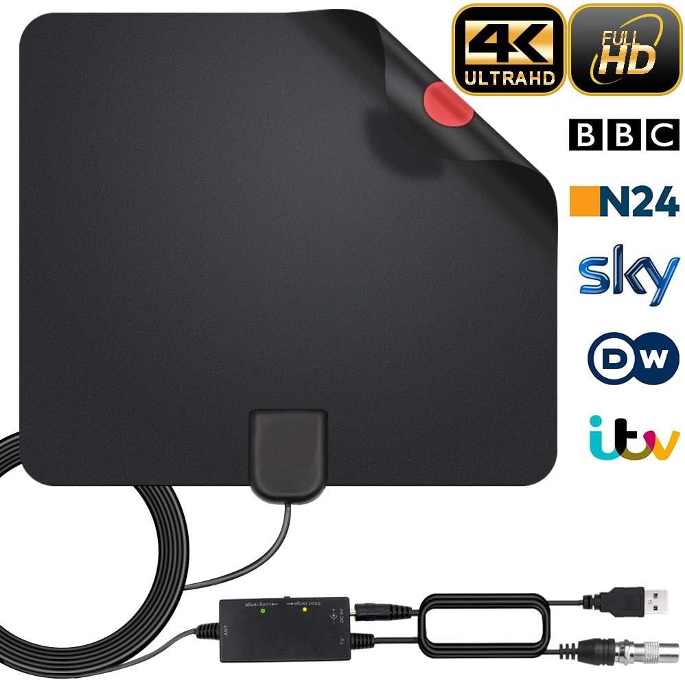 Antena Interior TV, Antena de TV Digital HD para Interiores, Antena de TV de Alcance de 130KM con Amplificador de Señal,Gratuita con Cable Coaxial de 5M, 4K 1080P, Antena de TV más Potente (Estilo-1)