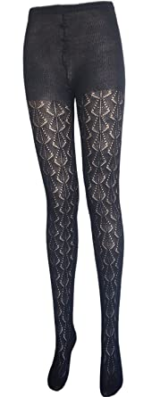 Petite ladies teens Pointelle sweater tights size 6-12 (1 pair black ... d114ca25eb5