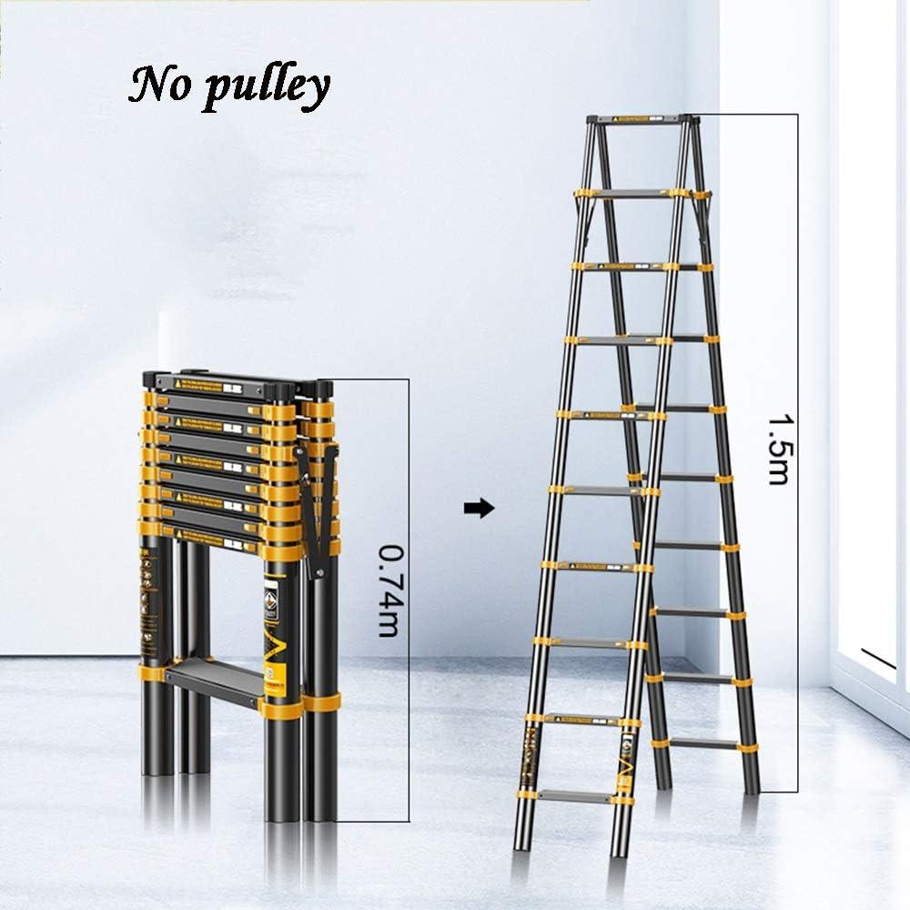 Size : Style1 Aluminium Zusammenklappbarer Leiter Multi-Purpose mit Wide Pedale Tragbarer Verl/ängerungsleitern zum Ingenieur GYL Teleskopleiter Schwarz Ausziehbare Leiter