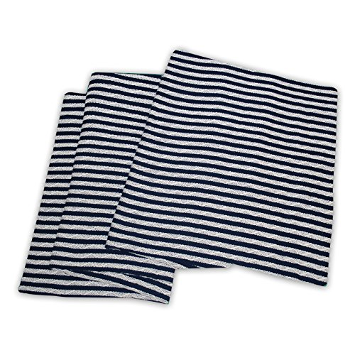 (Full/Queen Blanket Striped 100% Cotton, for All Season, Navy)
