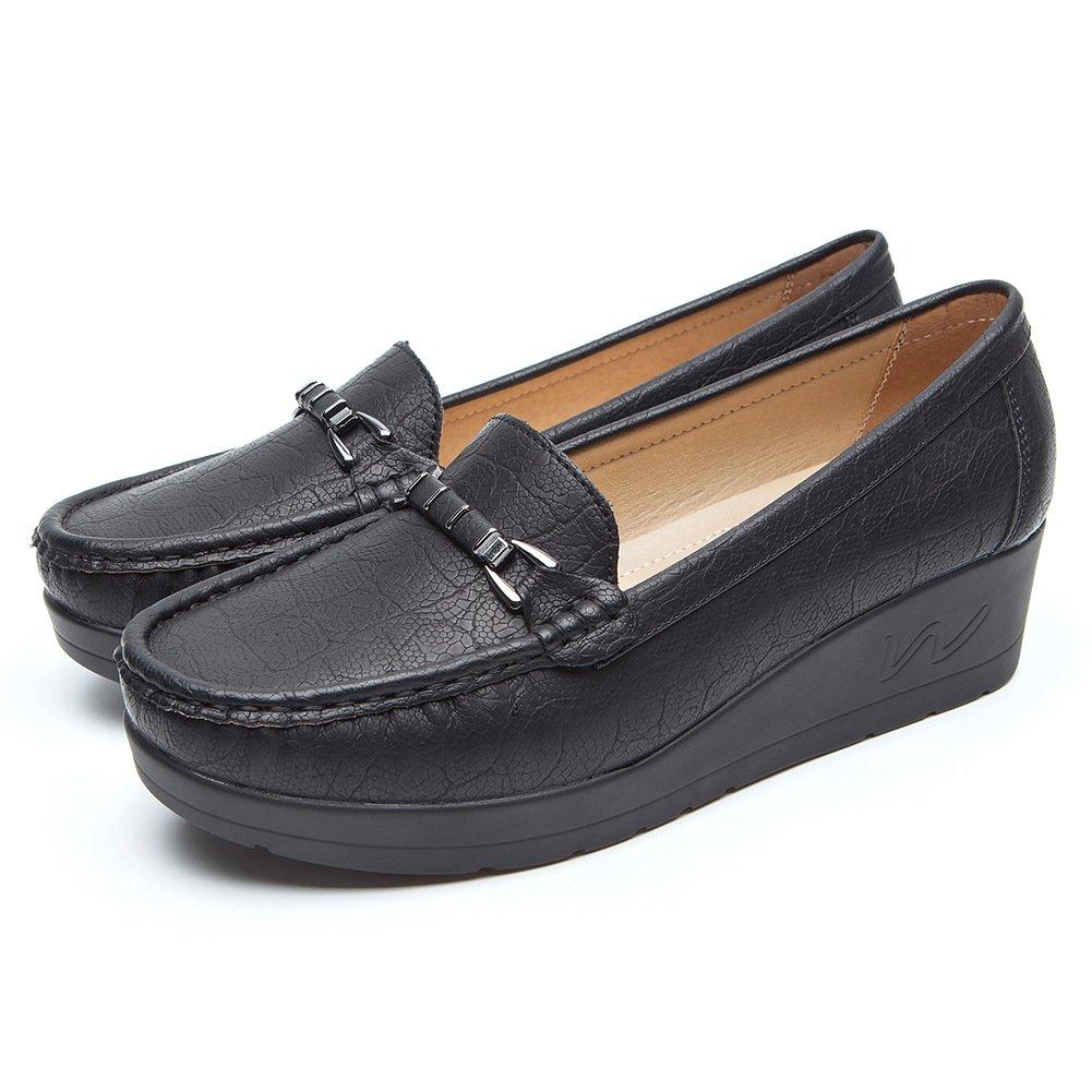 Chaussures Plates Noir Cuir pour Femmes Métal - Cendfini Noir Mesdames Black2 Compensee Mocassin Confortables, avec des Attaches en Métal à la Mode Chaussures, Convient pour Toutes Les Saisons Black2 323ff92 - therethere.space