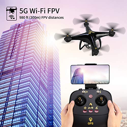 JJRC H68G GPS Return Home Drone Drone with 720P HD Camera Live Video 120° Wide-Angle 5G WiFi RC Drone Quadcopter with 980ft Control Distances, Follow Me, Altitude Hold Headless Mode Helicopter (Black) by JJRC (Image #3)