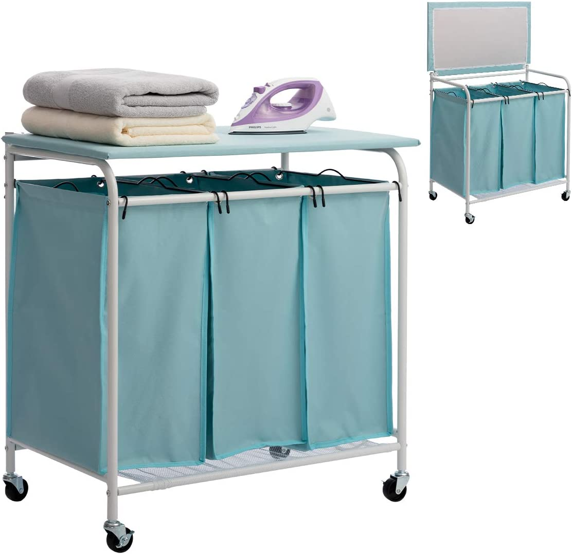 Marble Field 3-Bag Heavy-Duty Laundry Sorter Cart with Ironing Board Laundry Room Organizer with Casters Light Blue