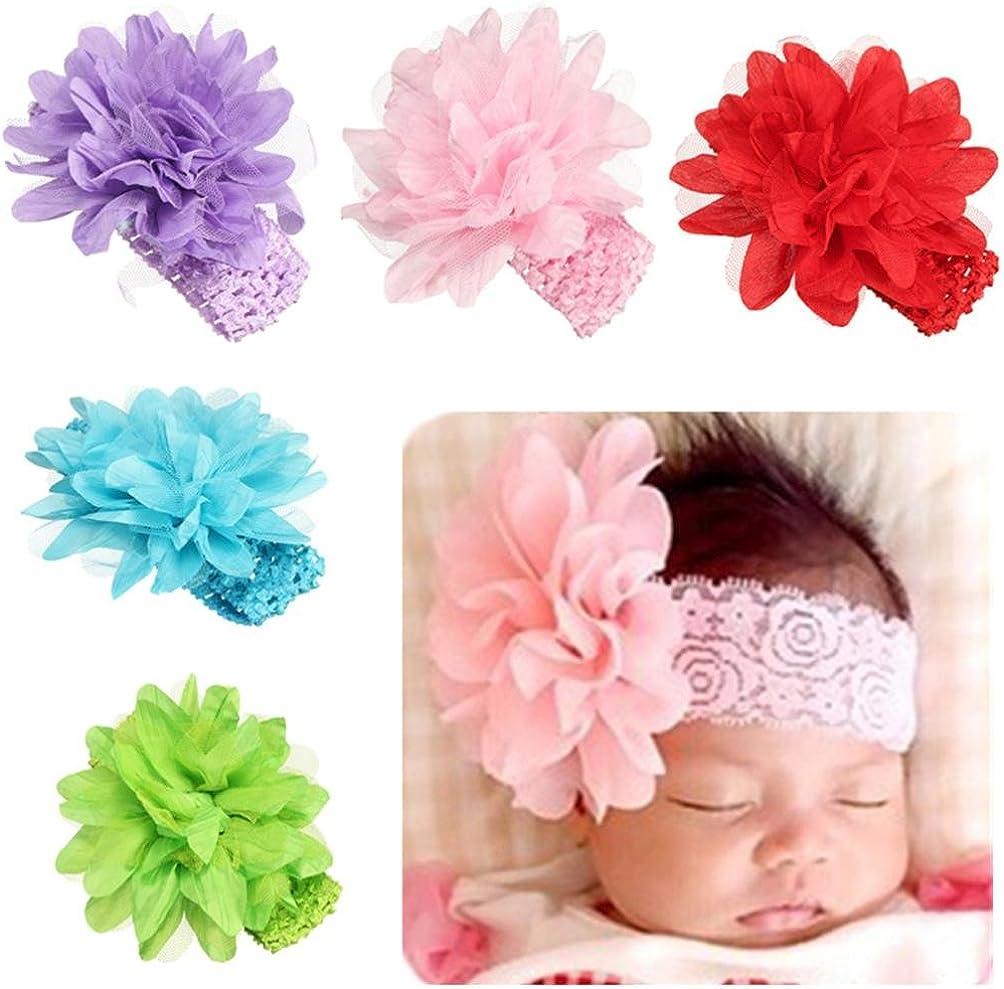 K-youth/® beb/é el/ástico flor diadema flor headwear diademas para ni/ñas diademas beb/é reci/én nacido y beb/és flores del pelo infantil beb/é turbante pelo ni/ñas diadema