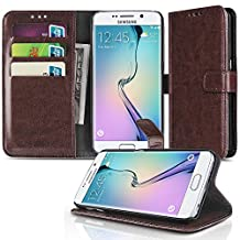 Samsung Galaxy S6 Wallet Case Brown - Slim Synthetic Leather Wallet Pocket Case Flip Cover Stand with Card Slots and Cash Compartment for Samsung Galaxy S6