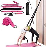 حزام مطاطي للياقة البدنية، لوحات خلفية للمساعدة على باب التدريب مرونة الشد، حزام تمديد الساق المرن [وردي]